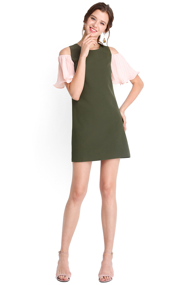 Partners In Poise Dress In Olive Green