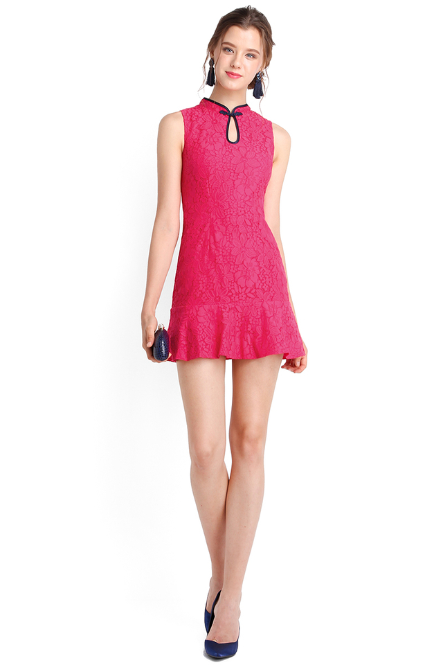 Ready For Spring Cheongsam Romper In Hot Pink