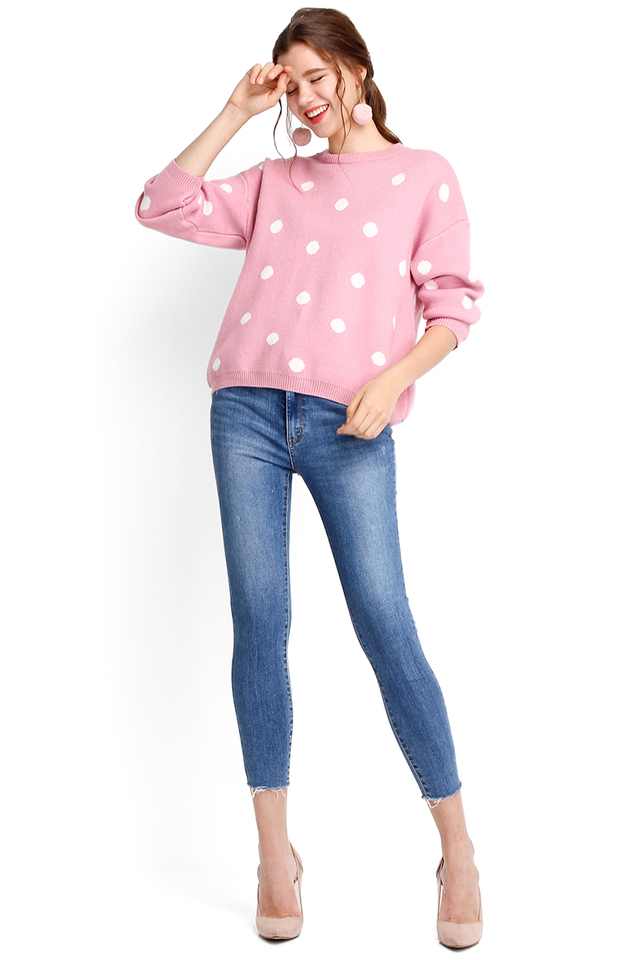 Winter Holiday Top In Pink Polka Dots