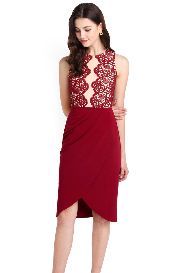 Cleopatra Dress In Wine Red