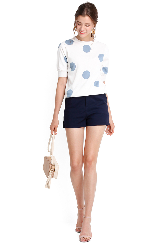 Summer Breeze Top In White Polka Dots
