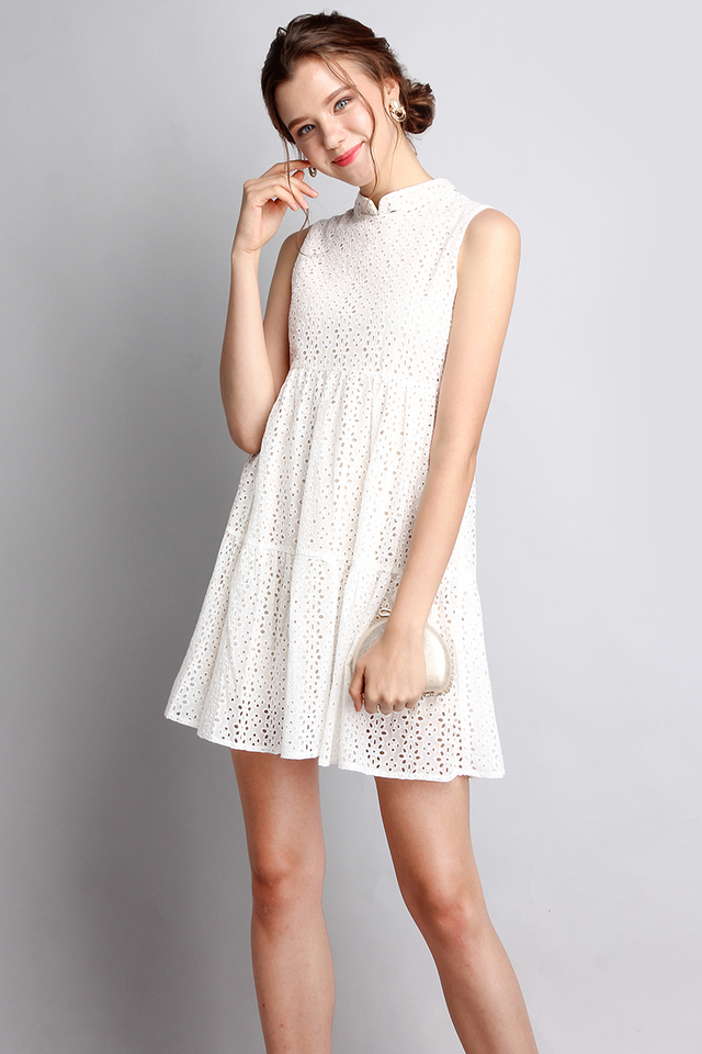 Good Day Sunshine Dress In Pure White