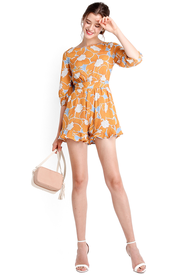 Brighton Weekend Romper In Mustard Florals