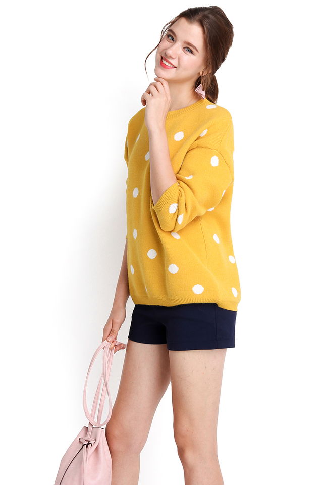 Winter Holiday Top In Yellow Polka Dots
