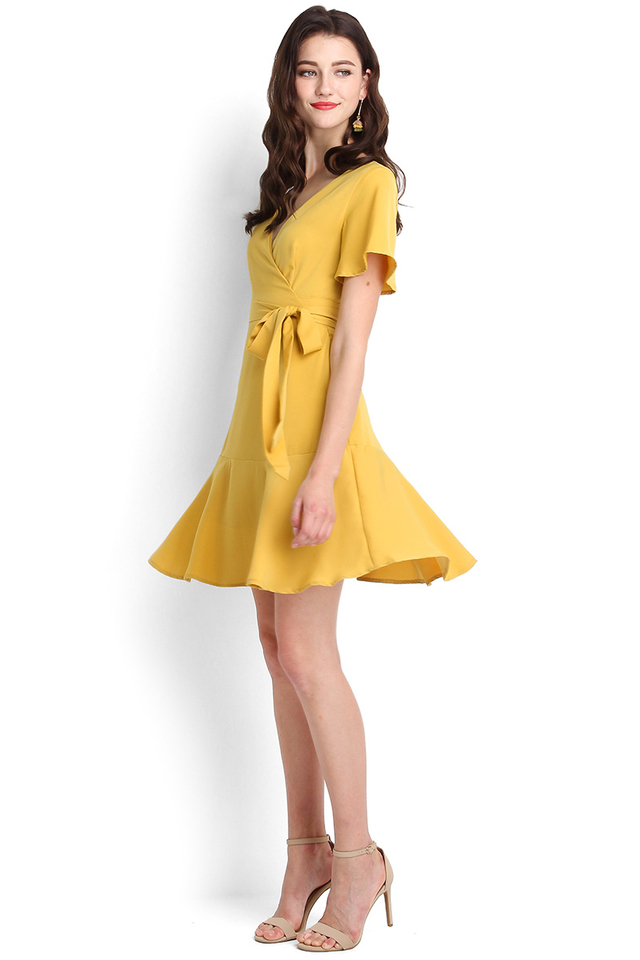 Twist And Shout Dress In Mustard Yellow