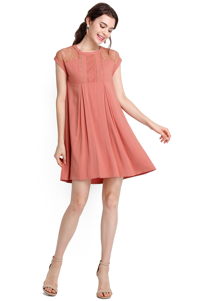 Paradise Found Dress In Apricot Rose