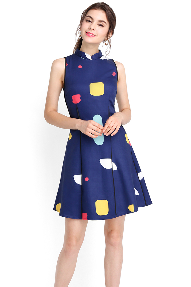 Lego Lesson Dress In Navy Blue