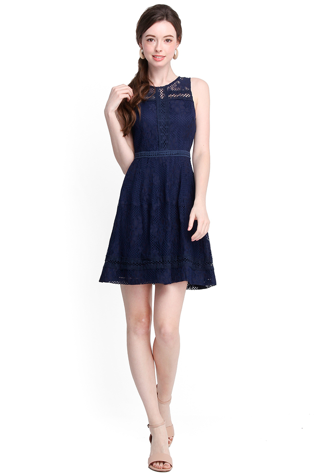 Winsome Smiles Dress In Midnight Blue