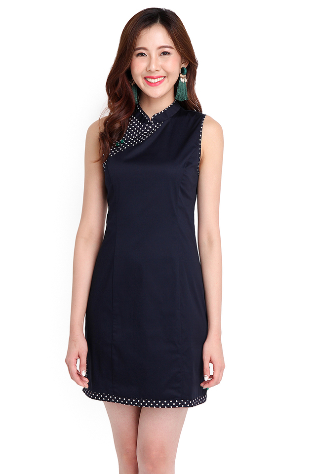 Guide To Bliss Cheongsam Dress In Blue Dots