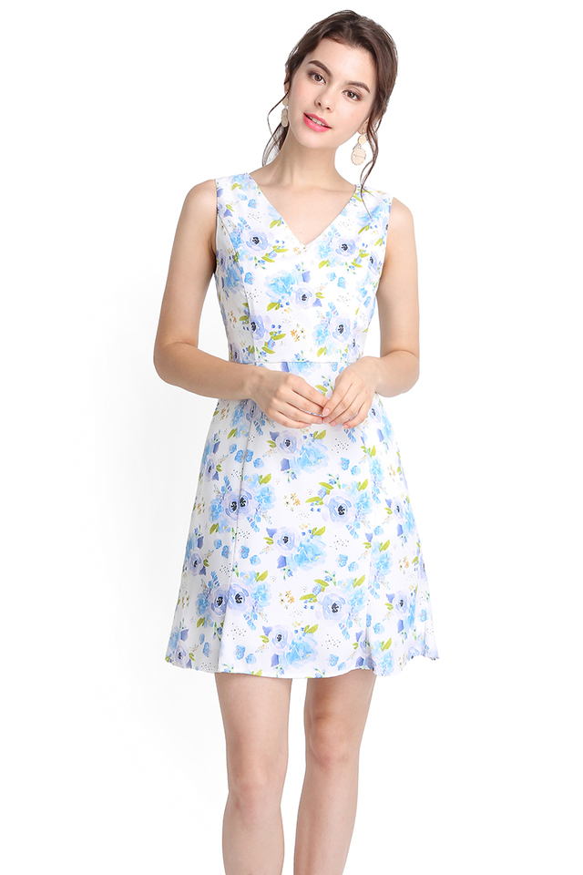All In Bloom Dress In Blue Florals