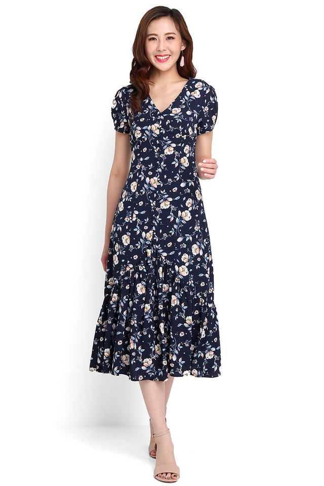 Gardens Of Versailles Dress In Blue Florals