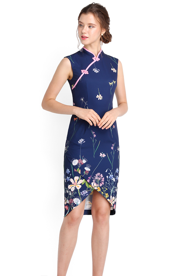 Picture Perfect Cheongsam Dress In Navy Florals