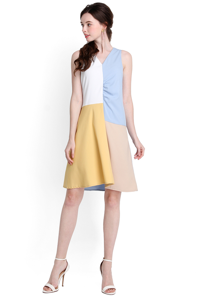 Tic Tac Toe Dress In Sky Blue
