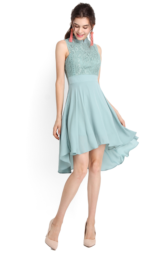 Fit For Royalty Cheongsam Dress In Cool Green