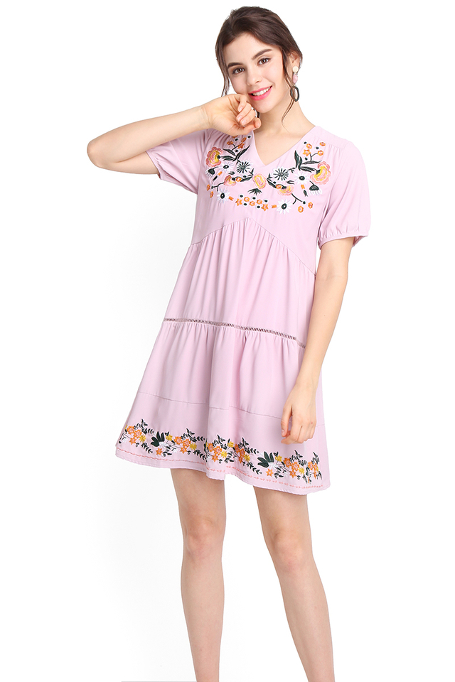 Sunshine For The Soul Dress In Dusty Lilac