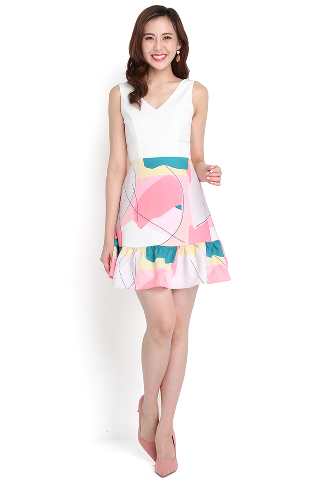Merry Palette Dress In Pink Doodles