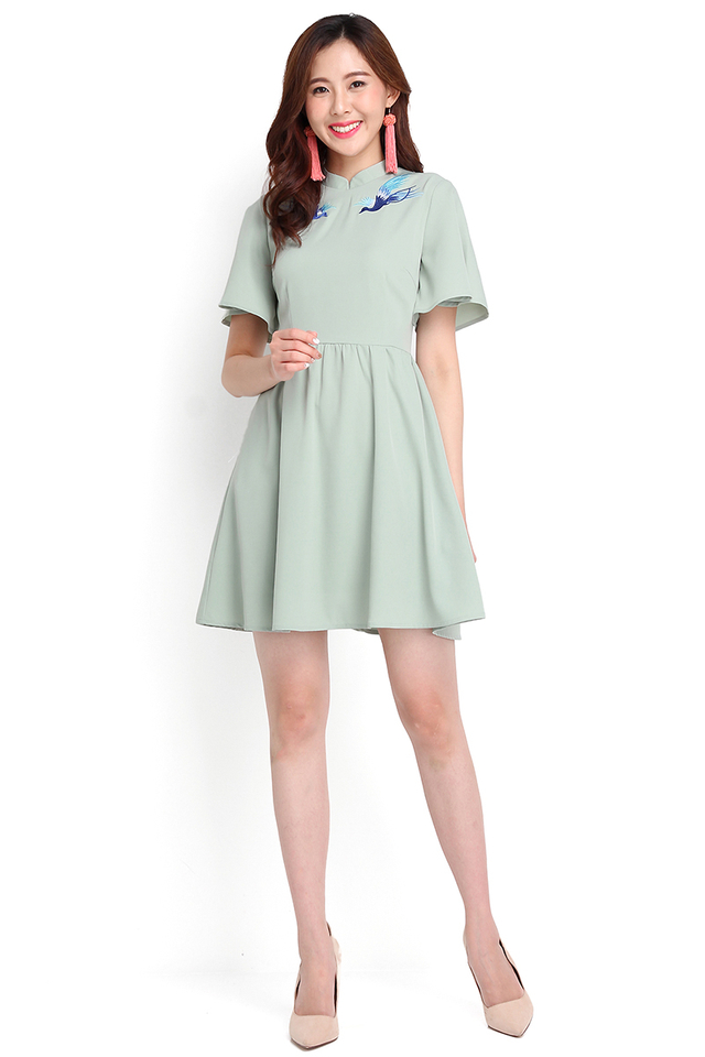 Order Of The Phoenix Cheongsam Dress In Jade