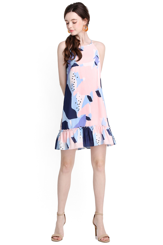 Exhilarating Experience Dress In Pink Blue