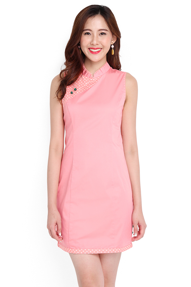 Guide To Bliss Cheongsam Dress In Peach Dots