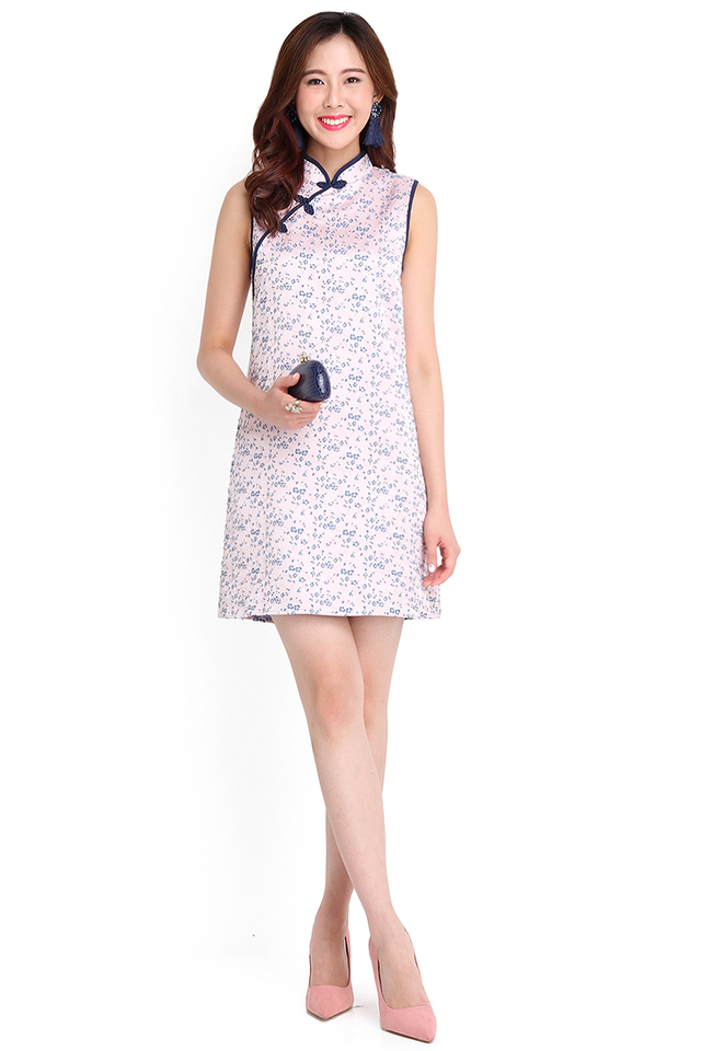 Air Of Meekness Cheongsam Dress In Soft Pink