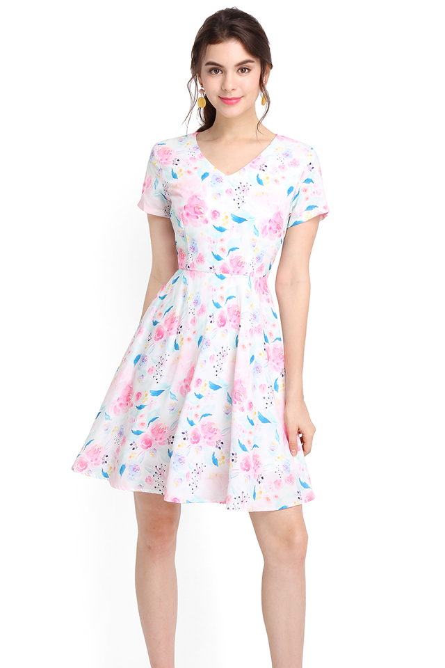 Exuberant By Nature Dress In Pink Blooms