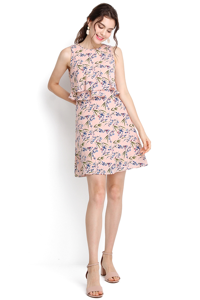 Blooming Blossoms Dress In Pink Florals