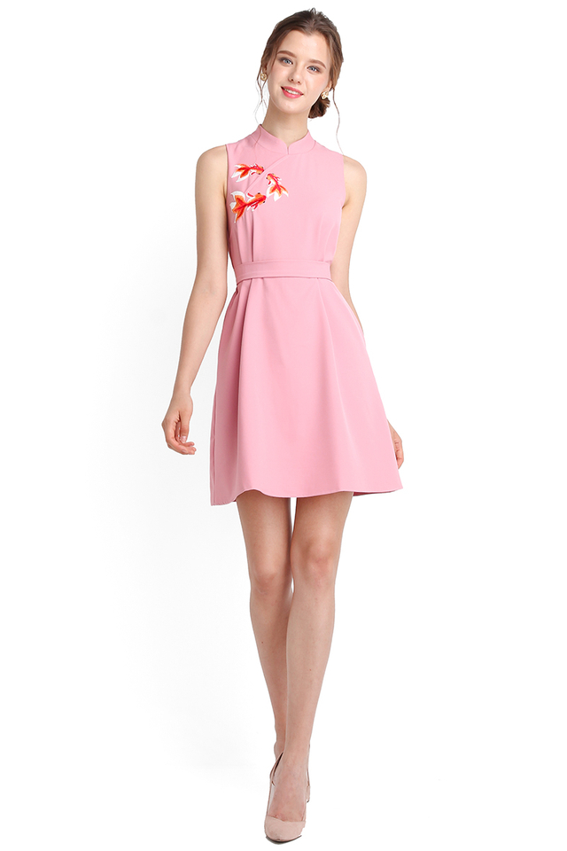 Swimmingly Well Cheongsam Dress In Rose Pink