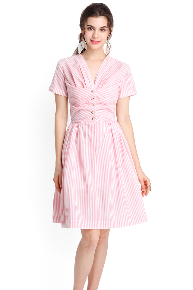 Vacation Dossier Dress In Pink Stripes