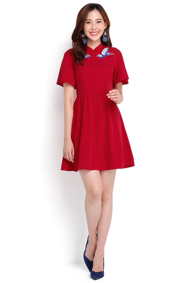 Order Of The Phoenix Cheongsam Dress In Wine Red