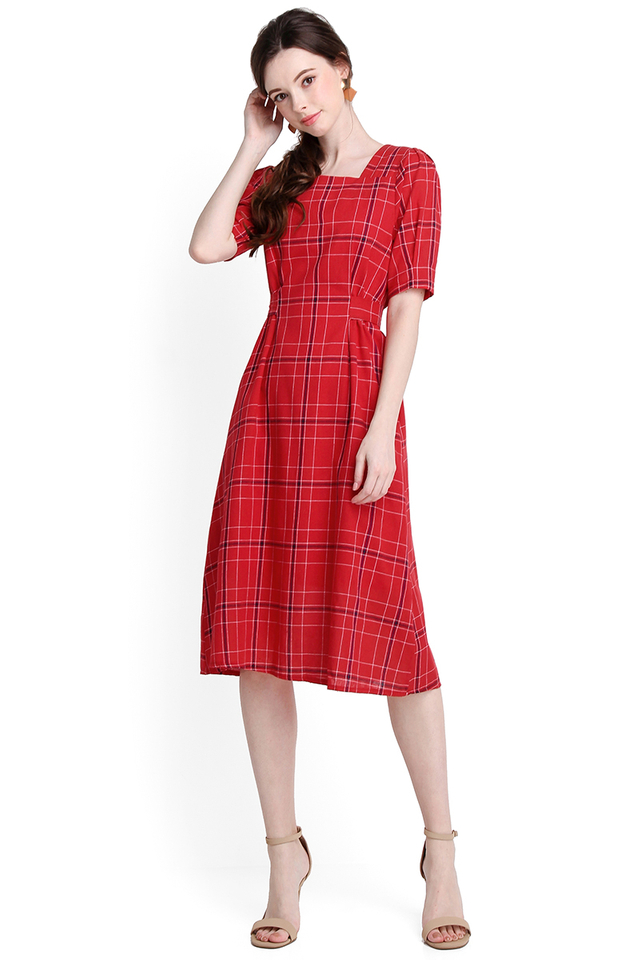 What The Heart Desires Dress In Red Checks