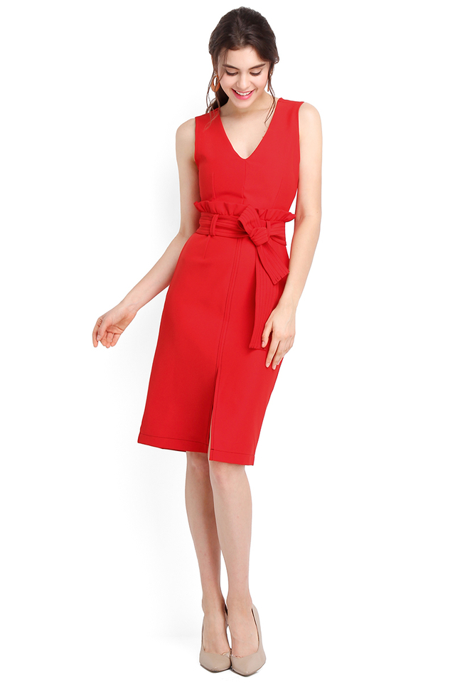 Lasting Impression Dress In Festive Red
