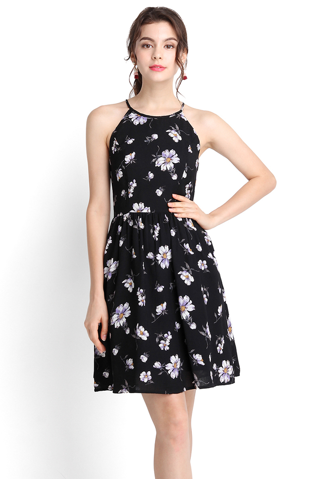 French Romanticism Dress In Black Florals