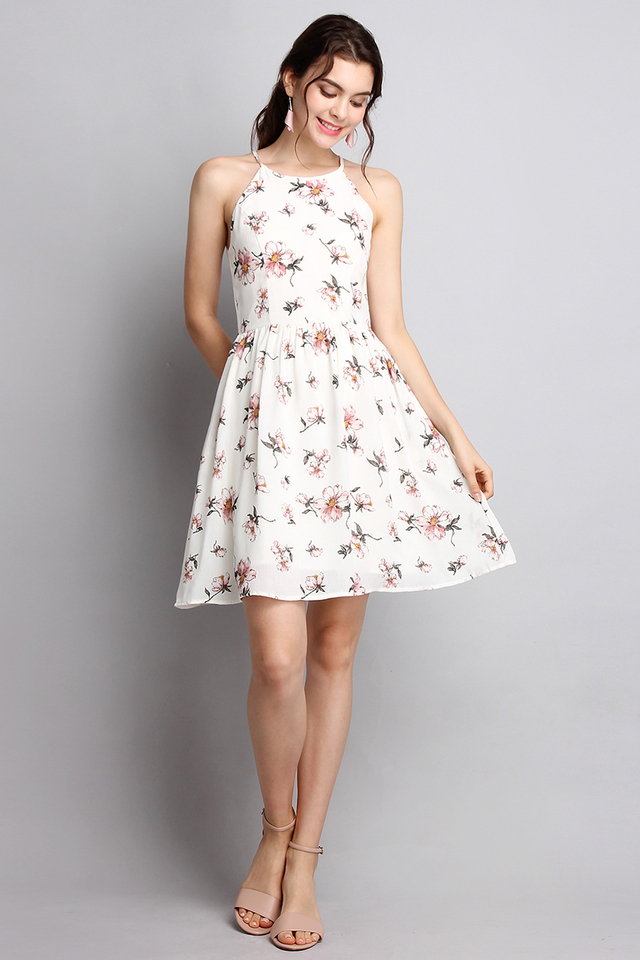 French Romanticism Dress In White Florals