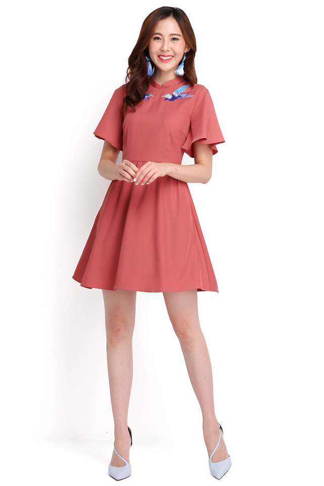 Order Of The Phoenix Cheongsam Dress In Tea Rose