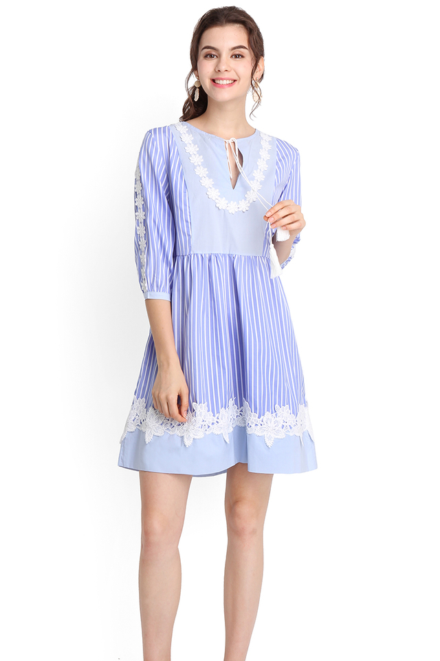 Vacation Plans Dress In Blue Stripes