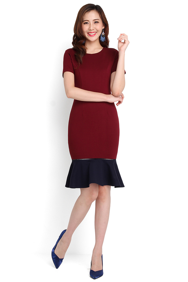 Captivated Gaze Dress In Wine Red