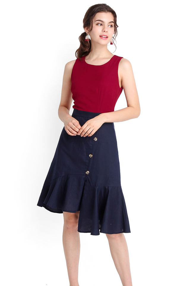 Stylish Undertaking Dress In Wine Blue