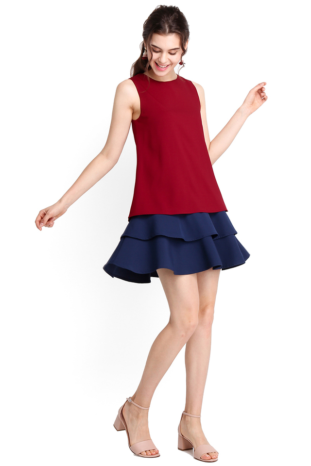 Wave Hello Dress In Wine Red