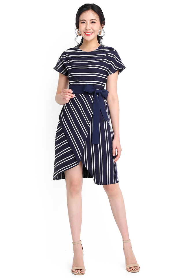 Hokkaido Musings Dress In Blue Stripes