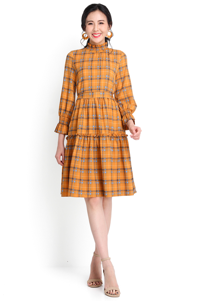 Unbridled Joy Dress In Mustard Checks