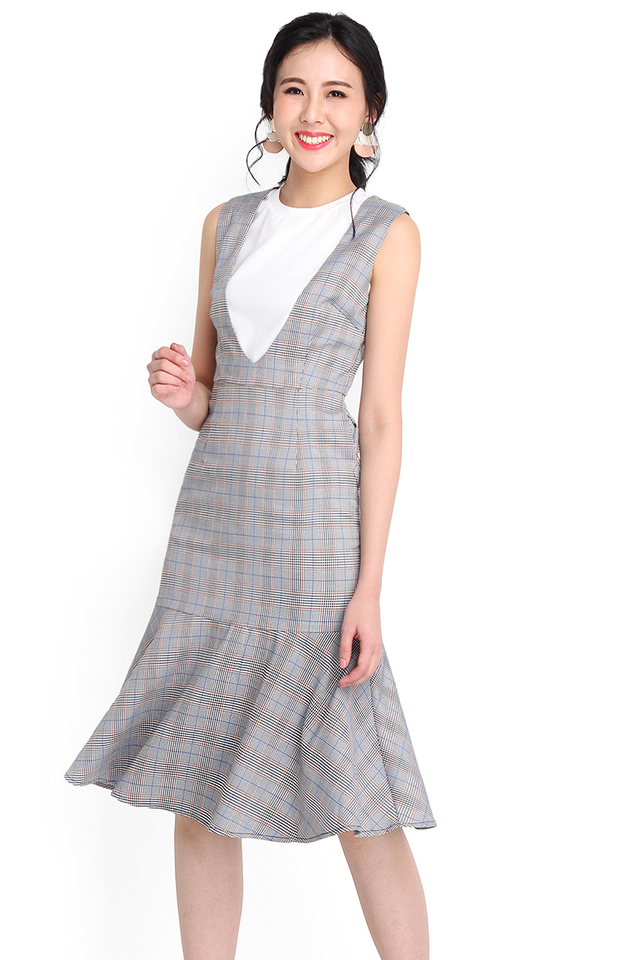 London Perfect Dress In Grey Checks