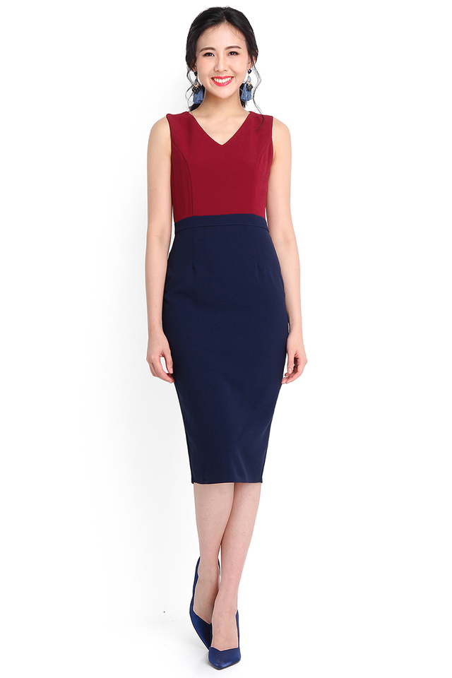 Key To Elegance Dress In Wine Blue