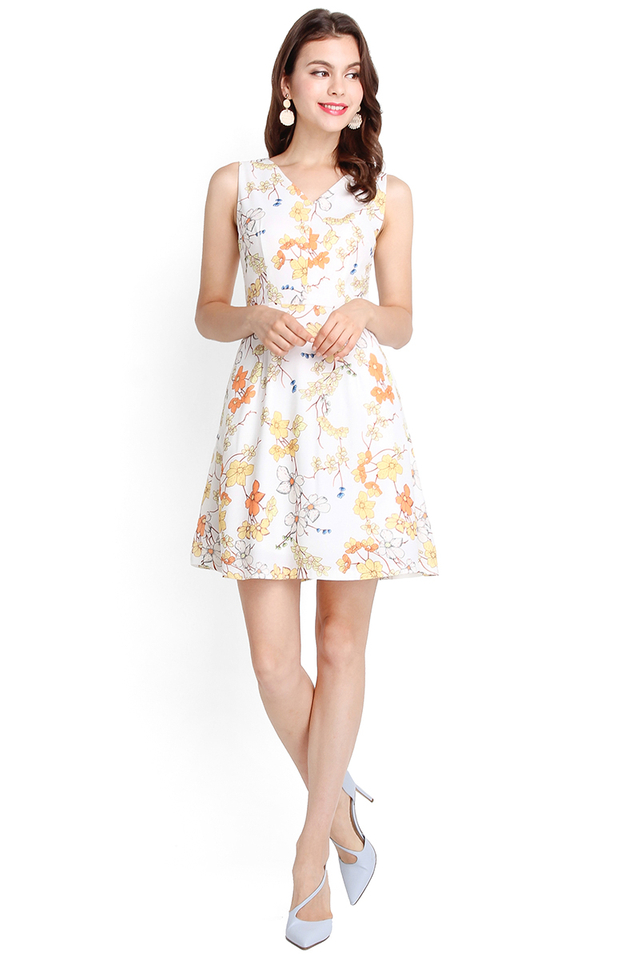 Heart Of Spring Dress In White Florals