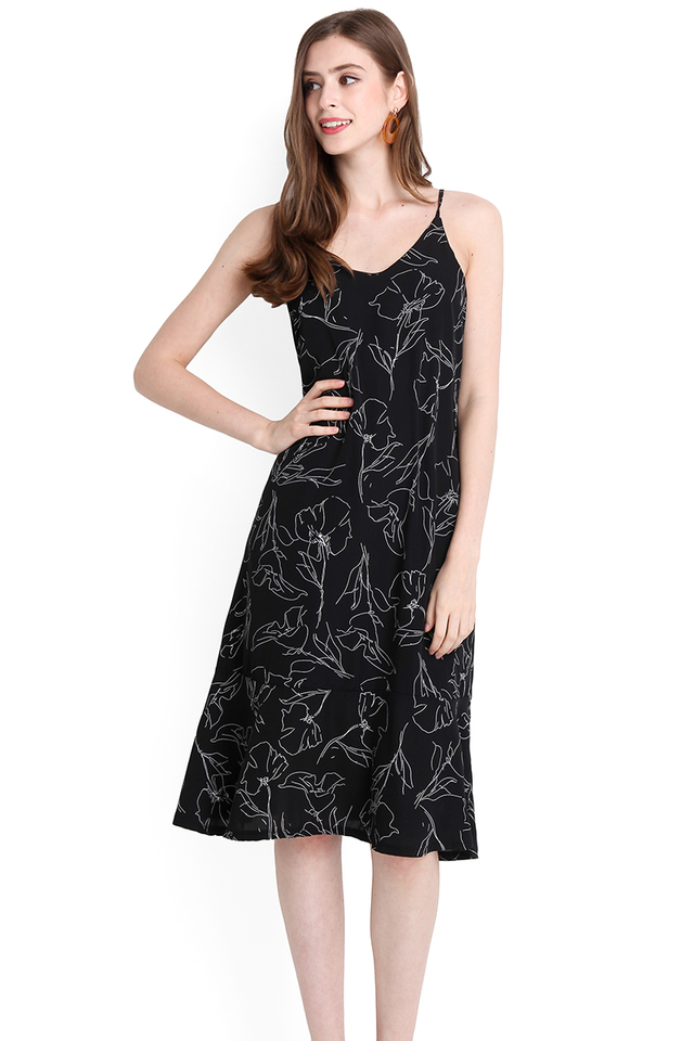 Holiday Magic Dress In Black Scribbles