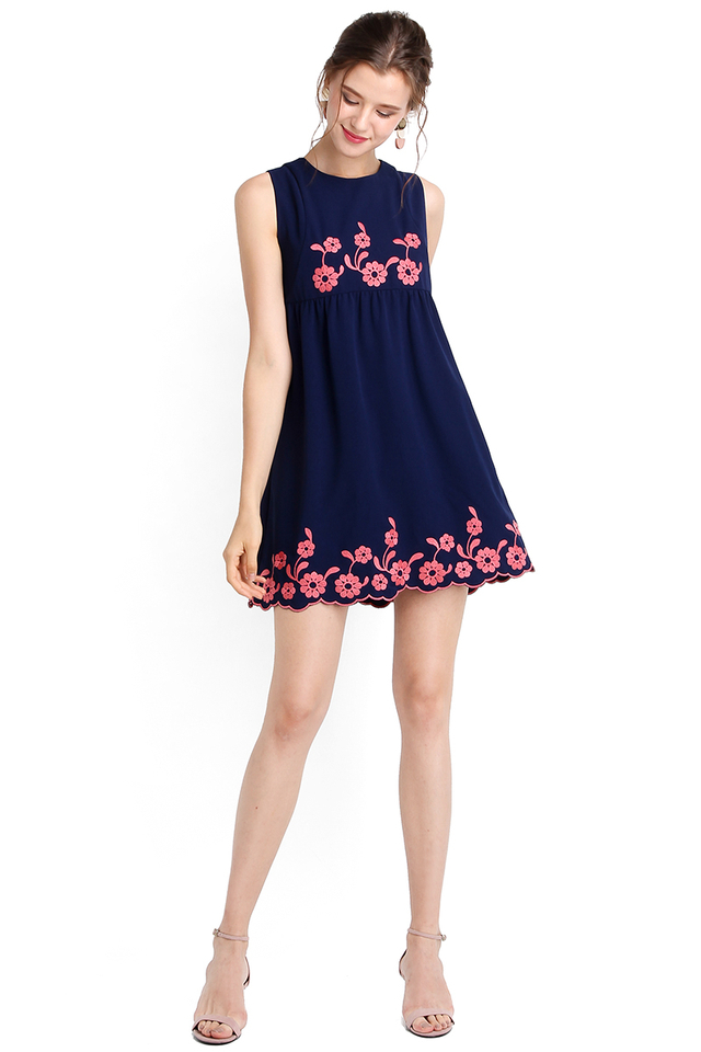 Sense Of Wonder Dress In Navy Blue