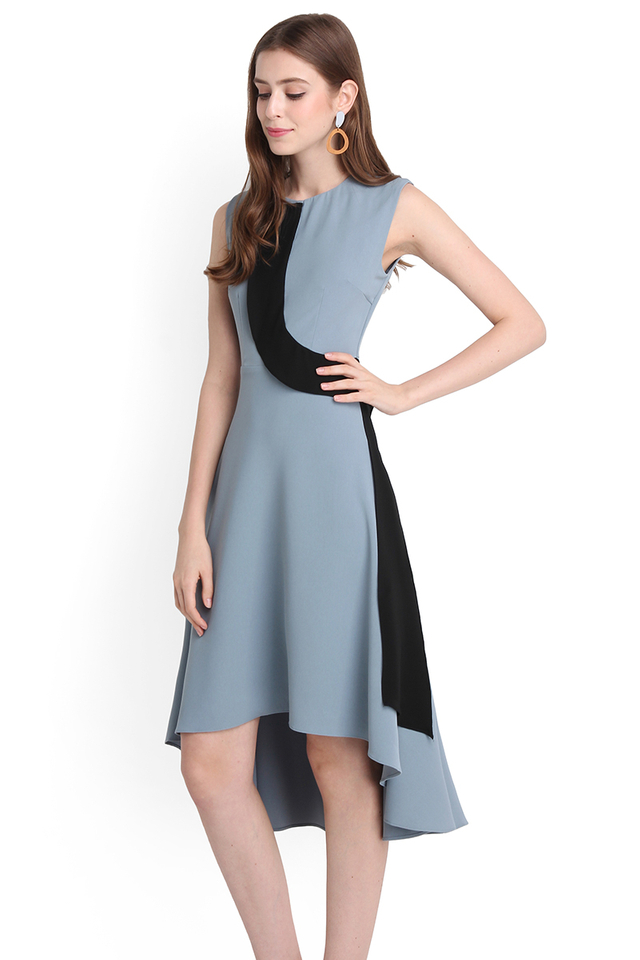 Winding Paths Dress In Muted Blue