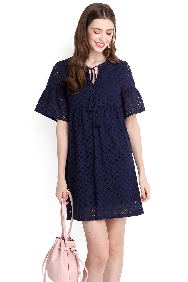 Whimsical Dreams Dress In Navy Blue