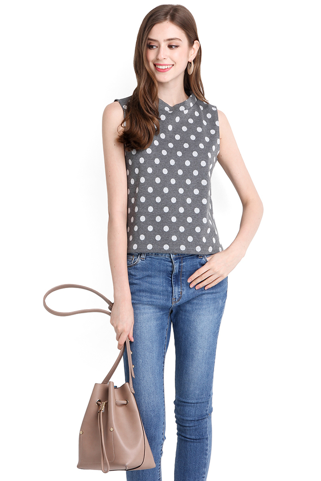 Autumn's Prelude Top In Grey Polka Dots