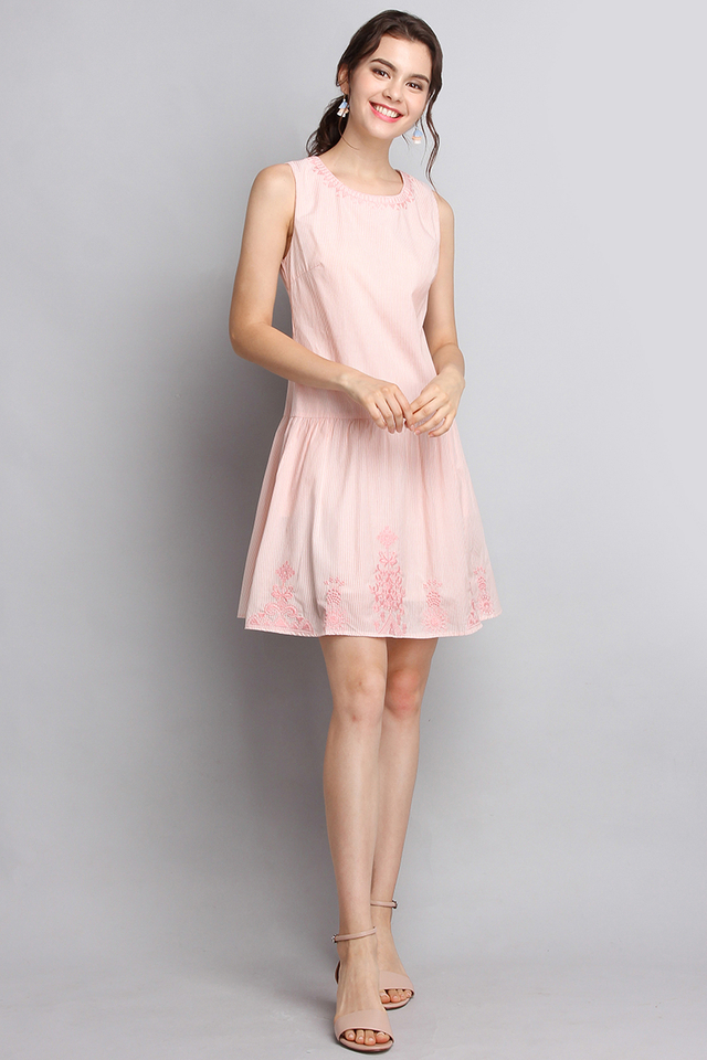Antique Charm Dress In Peach Stripes