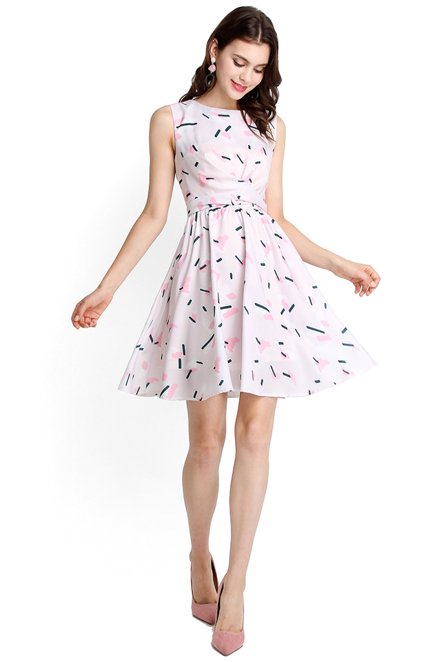 Sweet Like Candy Dress In Pink Prints